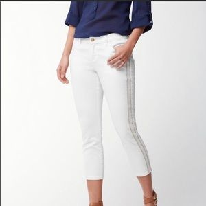 Tommy Bahama White Crop Embroidered Jeans